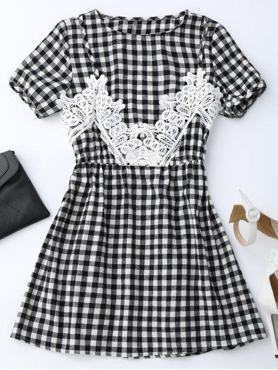 Checked Lace Trim A-Line Kleid - Kariert M
