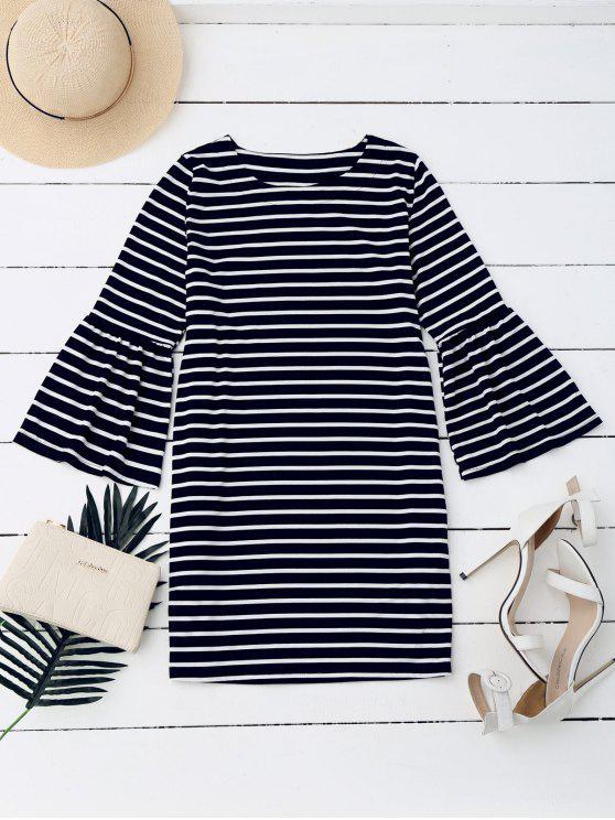 best Flare Sleeve Striped Casual Dress - STRIPE S