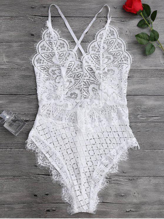 Body en dentelle festonné transparent en œillet - Blanc M