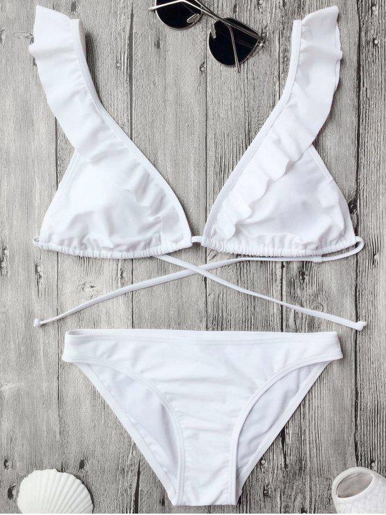 Traje de Bikini de Volantes con Relleno con Nudo en Espalda - Blanco M