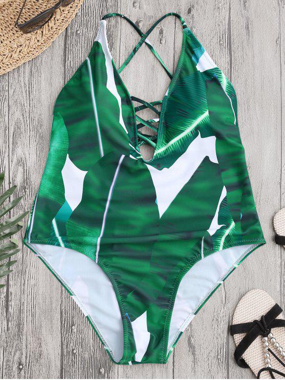 الصليب ظهر ورقة طباعة سترابي ملابس السباحة - أخضر M