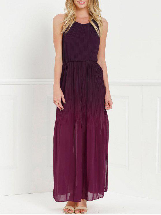 Halter Ombre Color High Slit Maxi Dress RED: Maxi Dresses M | ZAFUL