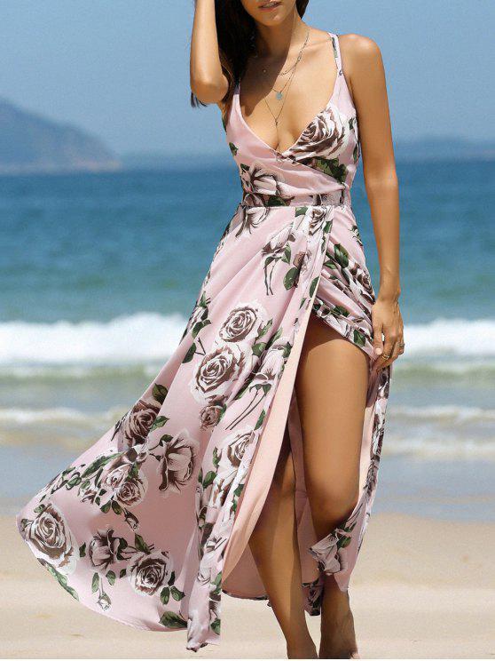 ladies Floral Cross Back Cami Maxi Dress - COLORMIX S