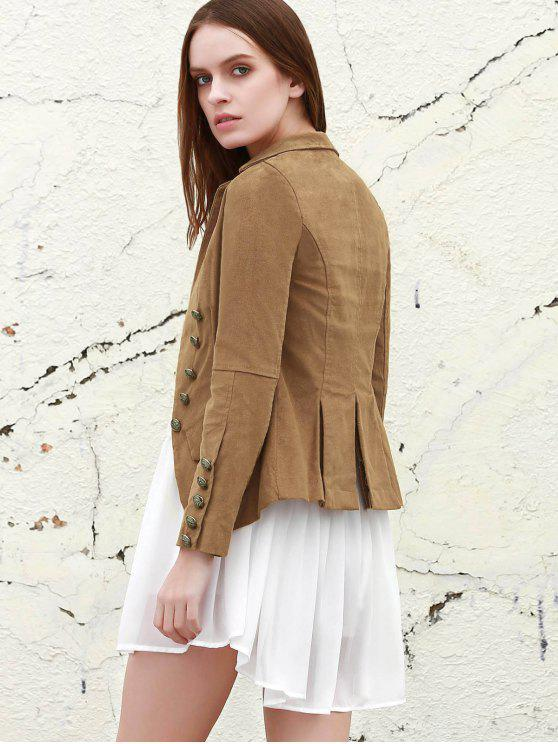 womens Lapel Structured Washed Blazer - LIGHT COFFEE S