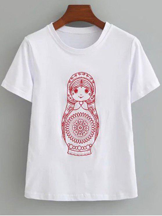 Camiseta bordada algodón linda - Blanco M