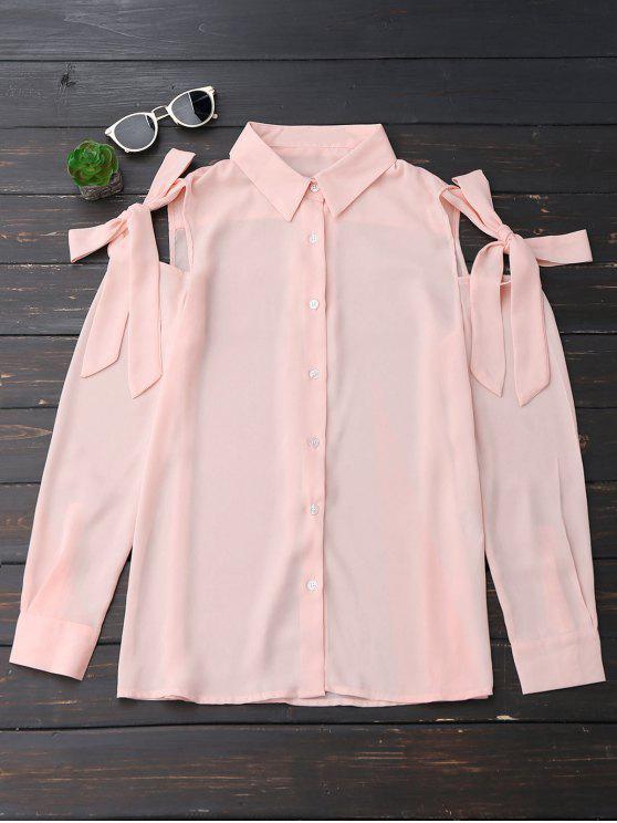 Botón hasta nudo blusa de gasa de hombro frío - Rosa beige  S