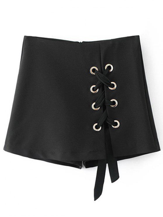Culotte Lace Up Shorts - Noir L