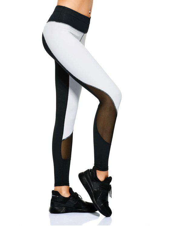 shop Mesh Panel Color Block Sporty Leggings - WHITE AND BLACK M
