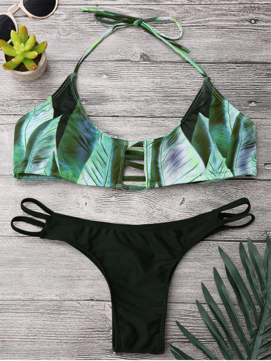 Conjunto de bikini de estampado tropical Palm Print - Negro y verde M