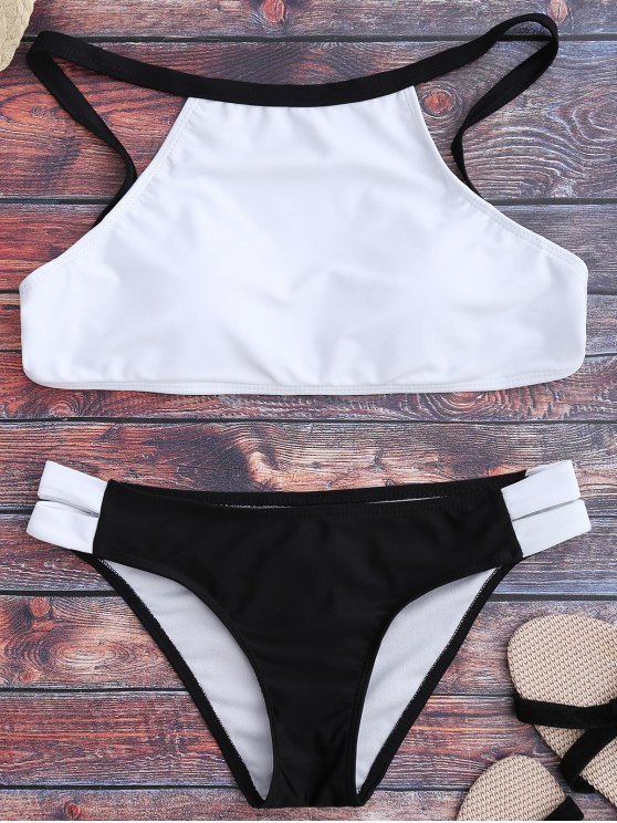 Dos tonos de cuello alto conjunto de bikini - Blanco y Negro M