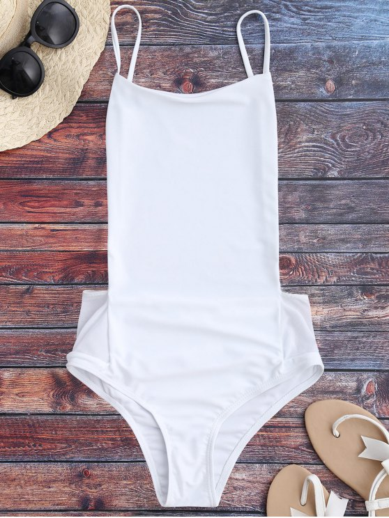 shop Spaghetti Straps Backless One Piece Swimsuit - WHITE L