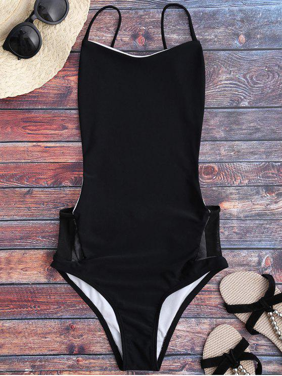 latest Spaghetti Straps Backless One Piece Swimsuit - BLACK S