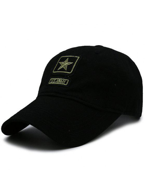 قبعة بيسبول بطبعة العسكر مزينة بنجمة خماسية - أسود
