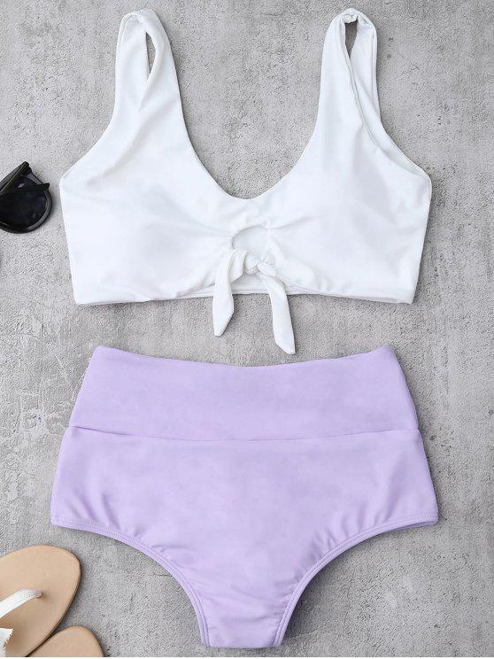 Traje de Bikini Fruncido Anudado con Cintura Alta - Púrpura L