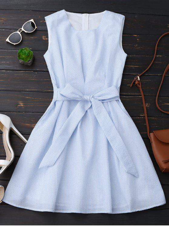 shop Sleeveless Striped Bowknot Dress - BLUE STRIPE S