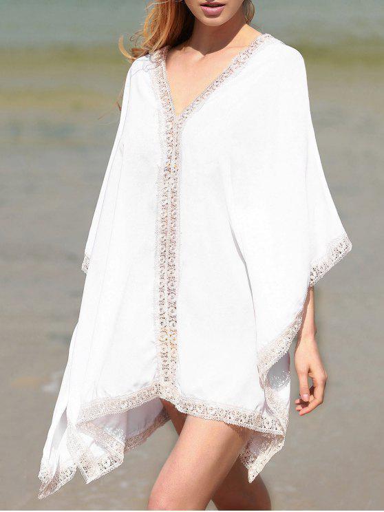 Vestido Monocromático de Cuello Pico con Ribete de Encaje con Mangas de Murciélago - Blanco Un tamaño(Montar tam