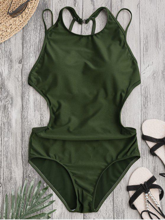 online Padded Back Strappy Swimwear - ARMY GREEN L