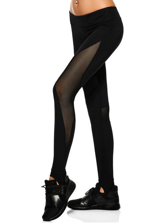 women Mesh Panel Stirrup Yoga Leggings - BLACK M