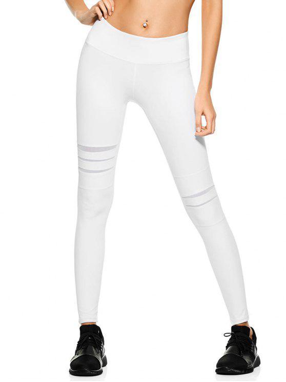 hot Mesh Panel Stretchy Yoga Leggings - WHITE S