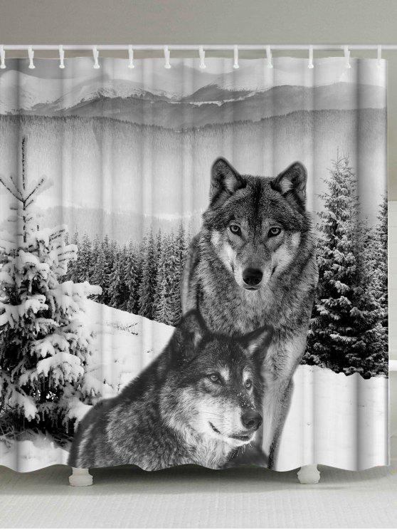 ماء نسيج الذئب الحيوان دش الستار - رمادي أبيض W71 بوصة * L71 بوصة
