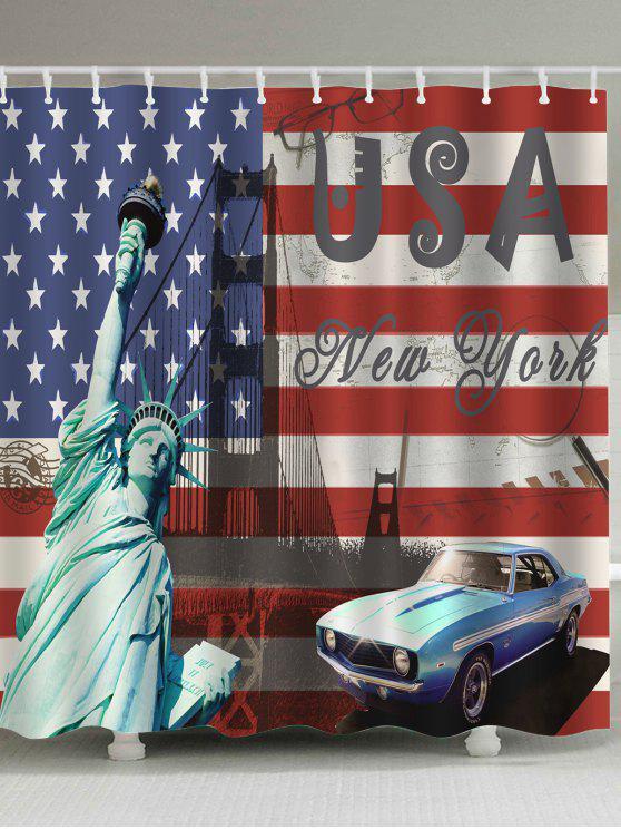 ديكور الحمام العلم الأمريكي دش الستار - مزيج ملون W71 بوصة * L79 بوصة