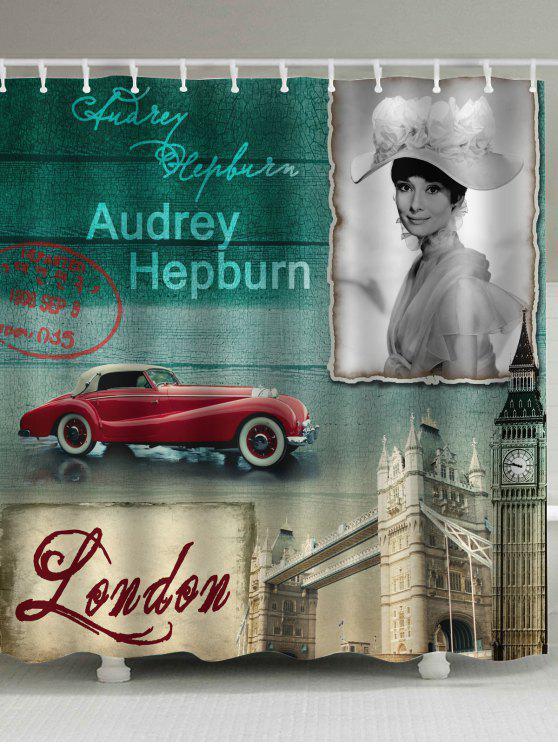 لندن مدينة أودري هيبورن نسيج ستارة الحمام - مزيج ملون W71 بوصة * L71 بوصة