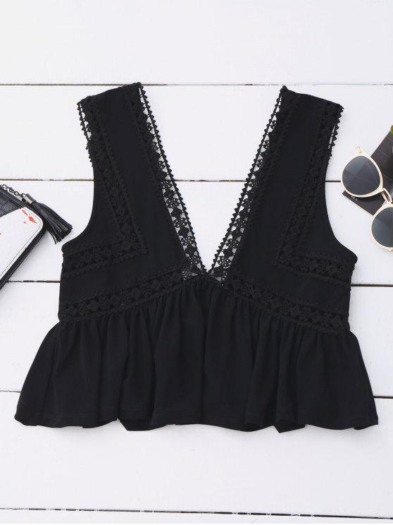 trendy Ruffles Lace Trim Cropped Tank Top - BLACK S