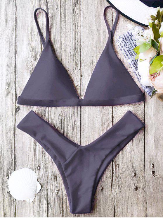 online Soft Pad Spaghetti Straps Thong Bikini Set - TARO L