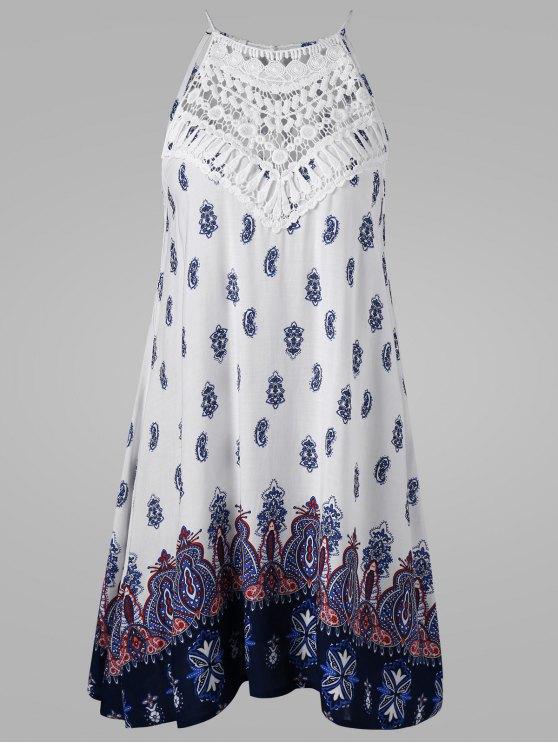 فستان ربطة الظهر بلا أكمام - مزيج ملون L
