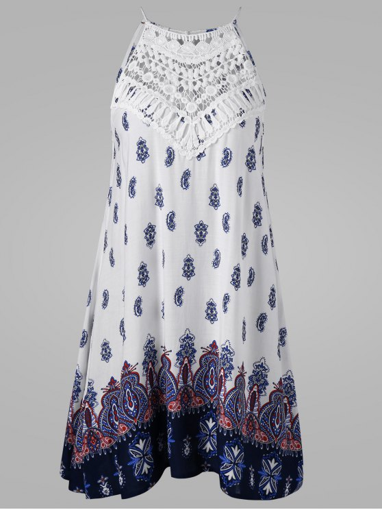 فستان ربطة الظهر بلا أكمام - مزيج ملون 2XL