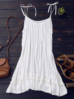 Casual Lace Trim Slip Dress - White S
