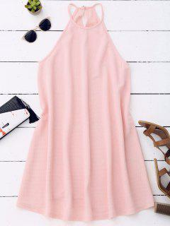 High Neck Casual Tunic Dress - Pink S