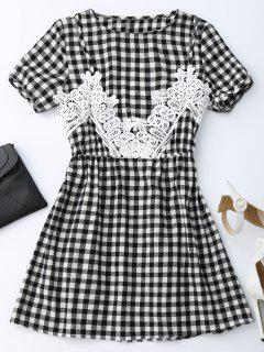 Checked Lace Trim A-Line Dress - Checked M