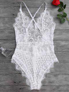 Scaolloped Sheer Eyelash Lace Teddy Bodysuit - White L