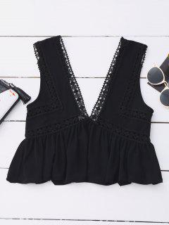 Ruffles Lace Trim Cropped Tank Top - Black L