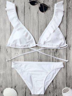 Traje De Bikini De Volantes Con Relleno Con Nudo En Espalda - Blanco S