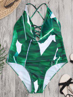 Bañador De Cordón Con Estampado De Hoja Con Espalda Cruzada - Verde L
