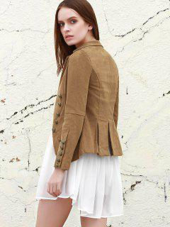 Lapel Structured Washed Blazer - Light Coffee L