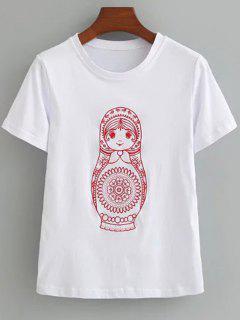 T-shirt Brodé Mignon En Coton  - Blanc M