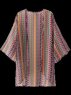 Geometric Open Front Kimono Blouse - Xs