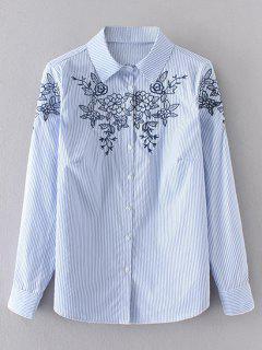 Floral Embroidered Stripes Shirt - Blue M