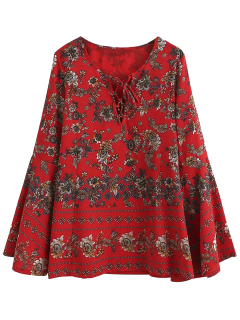 Flare Sleeve Lace Up Floral Blouse - Floral M