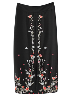 Slit Floral Embroidered A-Line Skirt - Black M