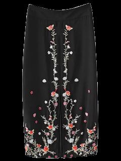 Slit Floral Embroidered A-Line Skirt - Black S