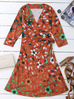Leaf Flower Print Slit Wrap Dress - Orange Red L
