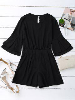 Split Back Flare Sleeve Romper - Black L
