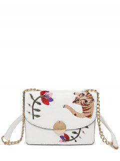 Embroidered Chain Crossbody Bag - White