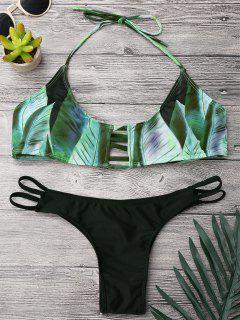 Lattice Tropical Palm Print Bikini Set - Black And Green S