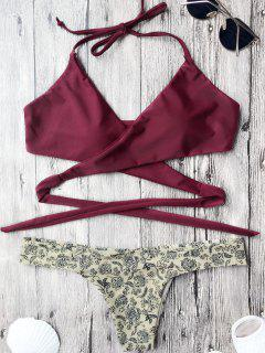 Tiny Floral Wrap Bathing Suit - Burgundy S