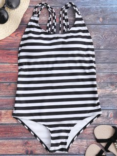 Strappy Open Back One Piece Swimsuit - White And Black L
